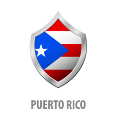 Puerto rico flag on metal shiny shield vector