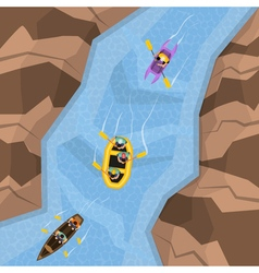 Rafting On River Top View vector