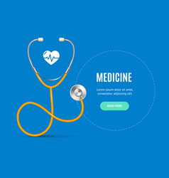 realistic detailed 3d stethoscope and medicine vector image