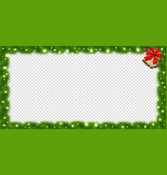 realistic fir-tree sparkling rectangle frame with vector image