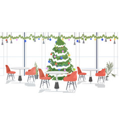 Restaurant decorated for merry christmas and happy vector