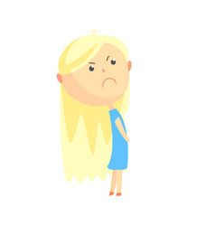 Sad offended cartoon blonde girl colorful vector