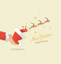 santa claus with reindeer sleigh flying out of vector image