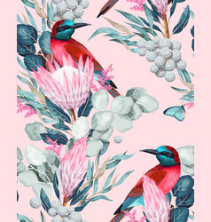 seamless pattern with birds and protea vector image