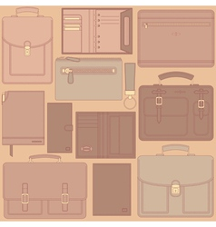 seamless pattern with leather goods vector image