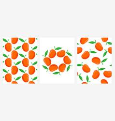 seamless patterns with ripe mango set vector image