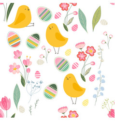 Seamless season pattern with contour wild flowers vector