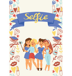 selfie girl beautiful woman character vector image
