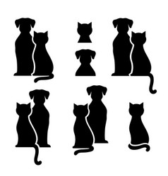 set abstract black cat and dog silhouettes vector image