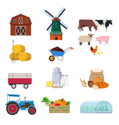 set farm buildings animals and products vector image
