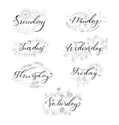 Set hand drawn days week vector