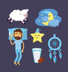 Set man with good night thing vector