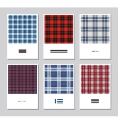 Set of artistic abstract cards with tartan vector