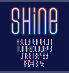 shine neon font glowing blue and orange capital vector image