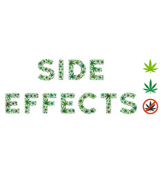 Side effects caption composition of hemp leaves vector