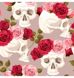Skulls and roses seamless vector