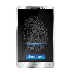 Smartphone with fingerprint scanners on display vector