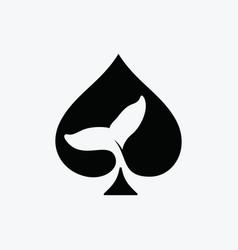 Spade ace aquatic whale giant logo design vector