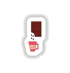Stylish paper sticker cup of hot chocolate vector