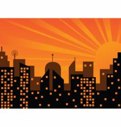 sunset in the city vector image