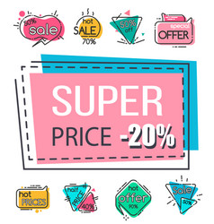 Super price 20 percent off price reduction set vector