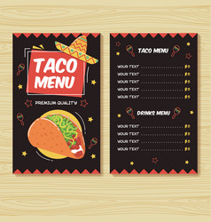 taco menu mexican food menu print template vector image