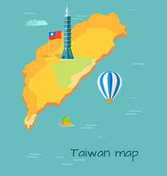 Taiwan map high taipei flag of island balloon vector