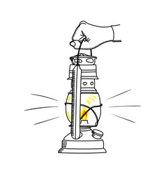 The old kerosene lamp with hand vector