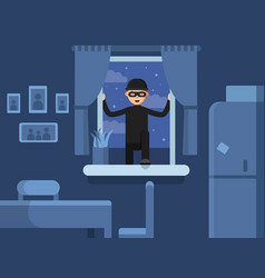 thief broken in through the window vector image