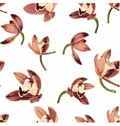 tropical vintage beige brown orchid flower pattern vector image