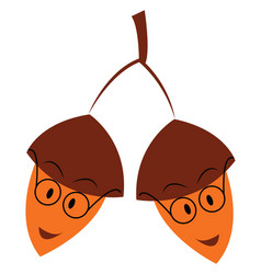 Two acorns wearing round eyeglasses hanging from vector