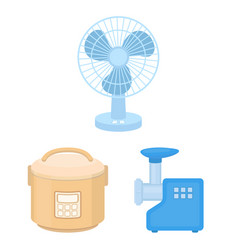 Types of household appliances cartoon icons in set vector