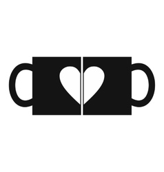 Valentine day couple cups vector image