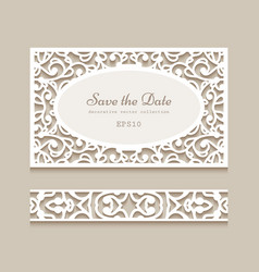 wedding card and lace border pattern vector image
