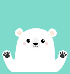 white polar bear holding hands paw print cute vector image
