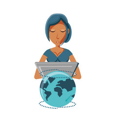 woman with laptop and planet earth vector image