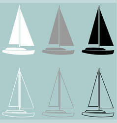 yacht white grey black icon vector image