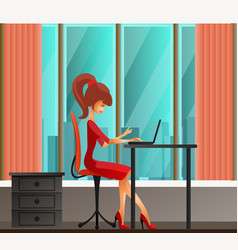 young secretary or business woman sitting vector image