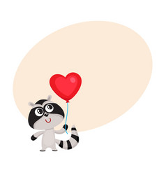 cute and funny raccoon holding red heart shaped vector image vector image