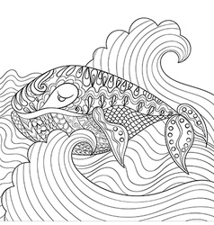 Hand drawn whale in the waves for antistress vector image vector image
