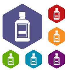 plastic bottle icons set hexagon vector image vector image