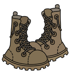 Sand high lacing military shoes vector