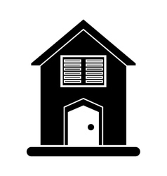 silhouette house blinds windows vector image