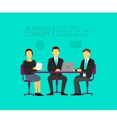 Two men and woman at the desk Business meeting vector image