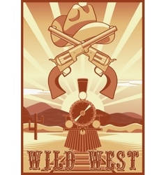 Wild west vintage card or poster with desert vector image