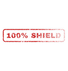 100 percent shield rubber stamp vector image
