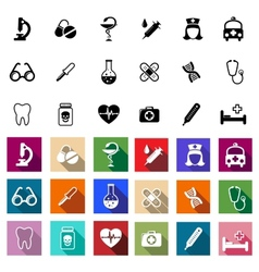 Black and coloured flat medical icons vector image