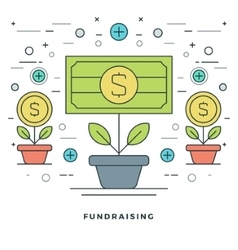 Flat line Fundraising and Financial Growth Concept vector image vector image