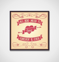 Love quote with design signs grunge vector image