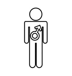 male figure with symbol isolated icon vector image